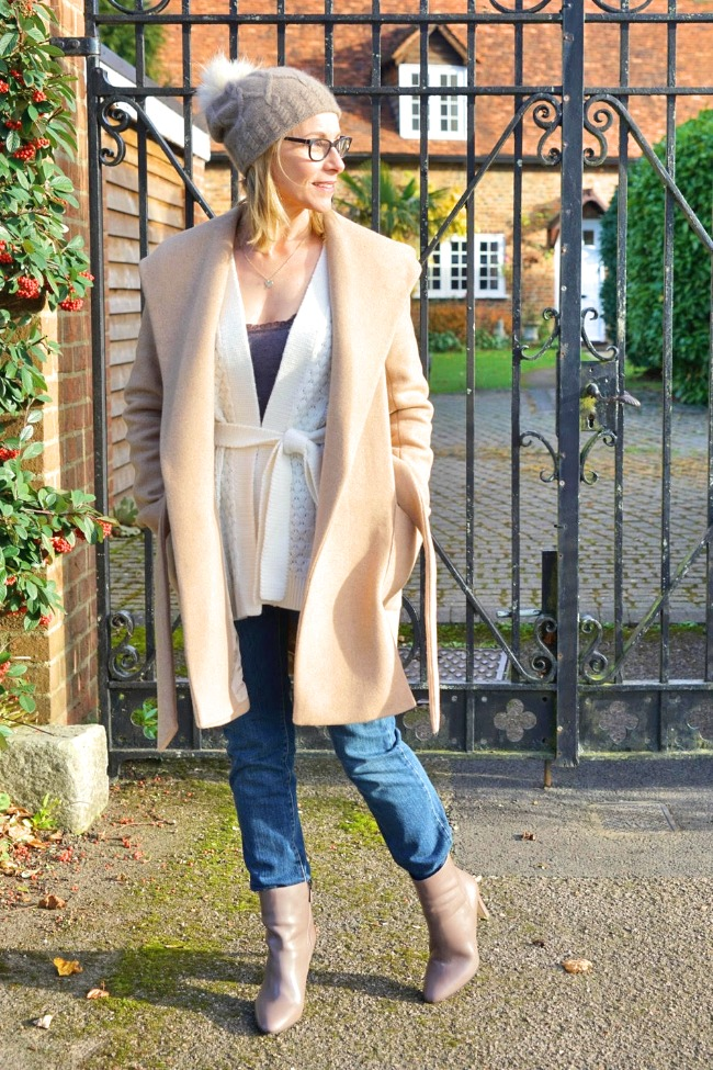 Maria of Passion Fruit Paws and Pegonies in an all neutral winter elegant casual look