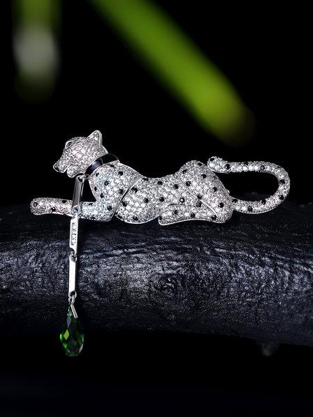 designer leopard zirconia brooch