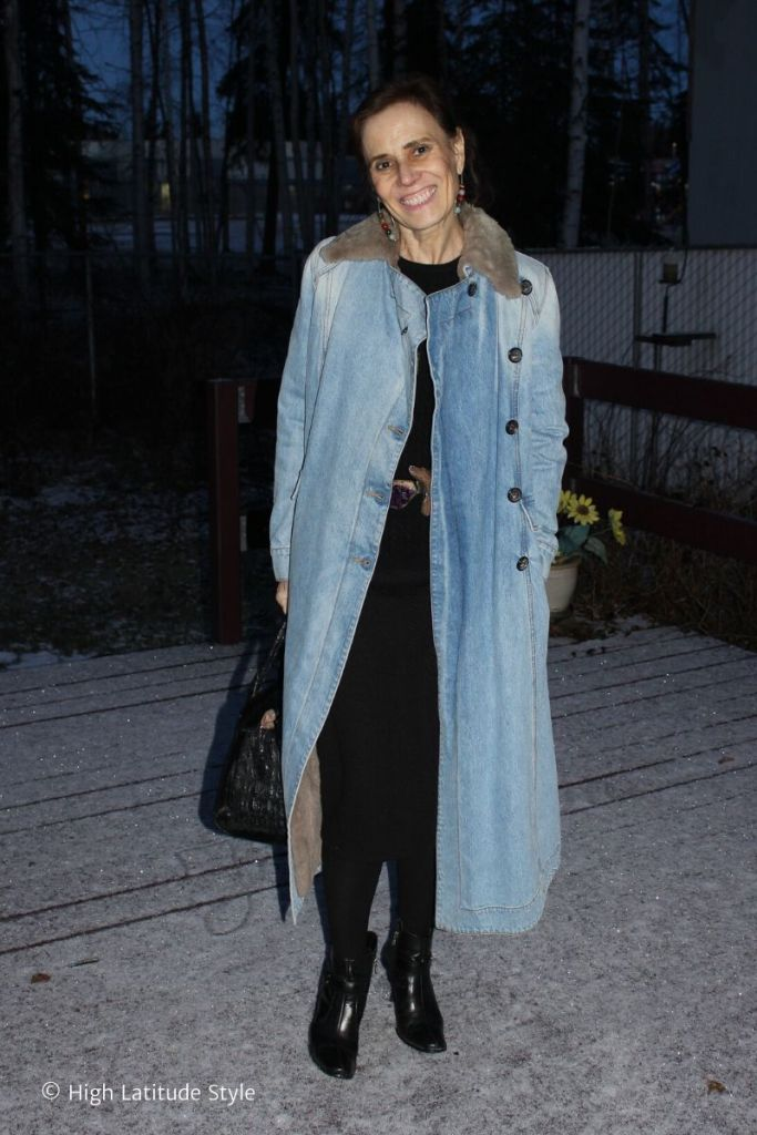 over 50 years old blogger in denim coat layered over knit wear to stay warm in cold weather
