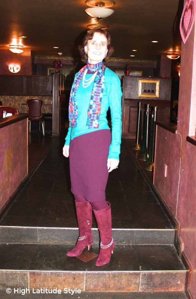 mature blogger in work outfit with long shawl