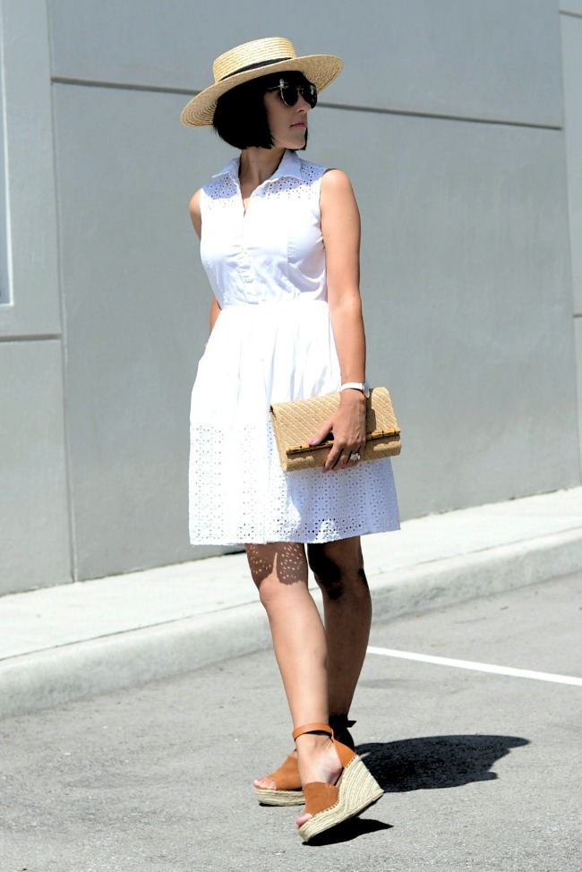 Amber at Canadian Fashionista in a LWD with straw hat