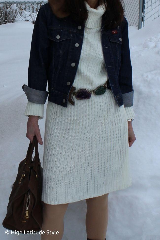 large gemstones belt on white ribbed knitdress