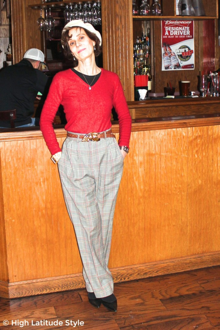 #fashionover50 woman in casual posh work outfit with three horses statement belt