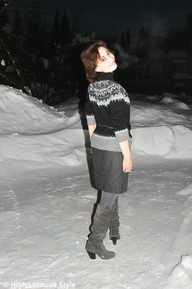 #advancedstyle woman in coarse wool fabric skirt and Fair Isle sweater with tall boots and opaque tight