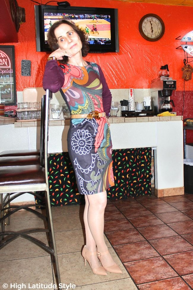 over 50 years old fashion blogger in a cool crazy print sheath work outfit worn with T-shirt
