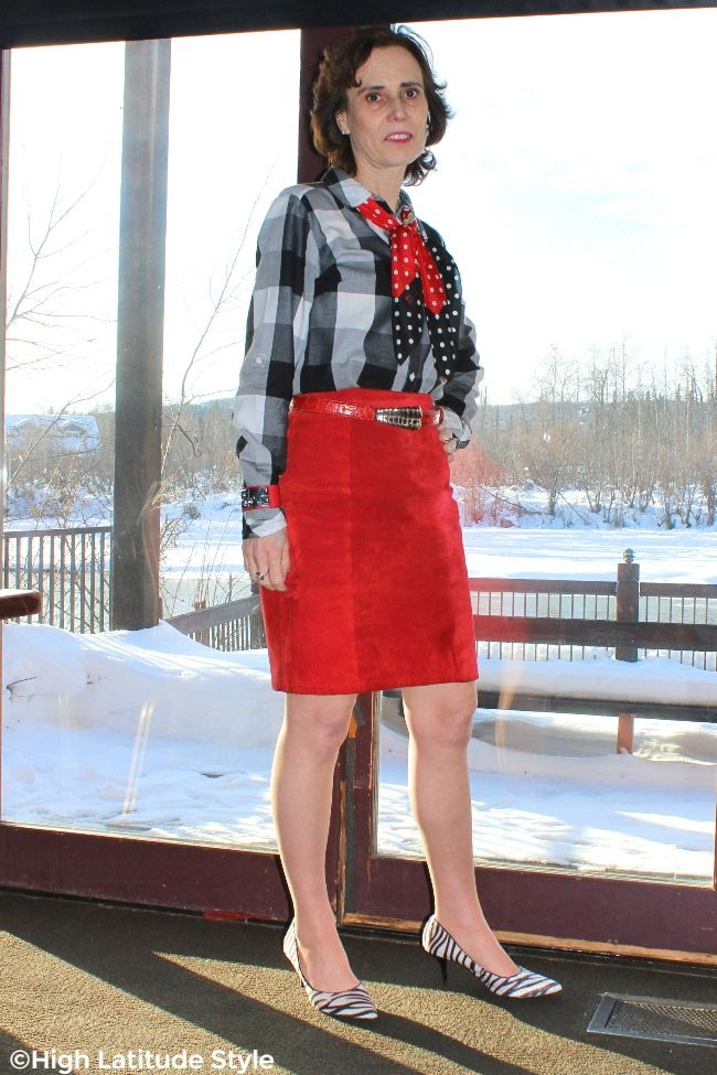 #fashionover40 lady in red, white and black print and pattern mix