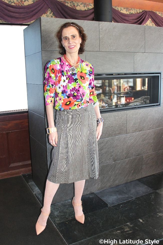 #fashionover50 lady wearing floral print and glen check in one outfit for Mother's Day