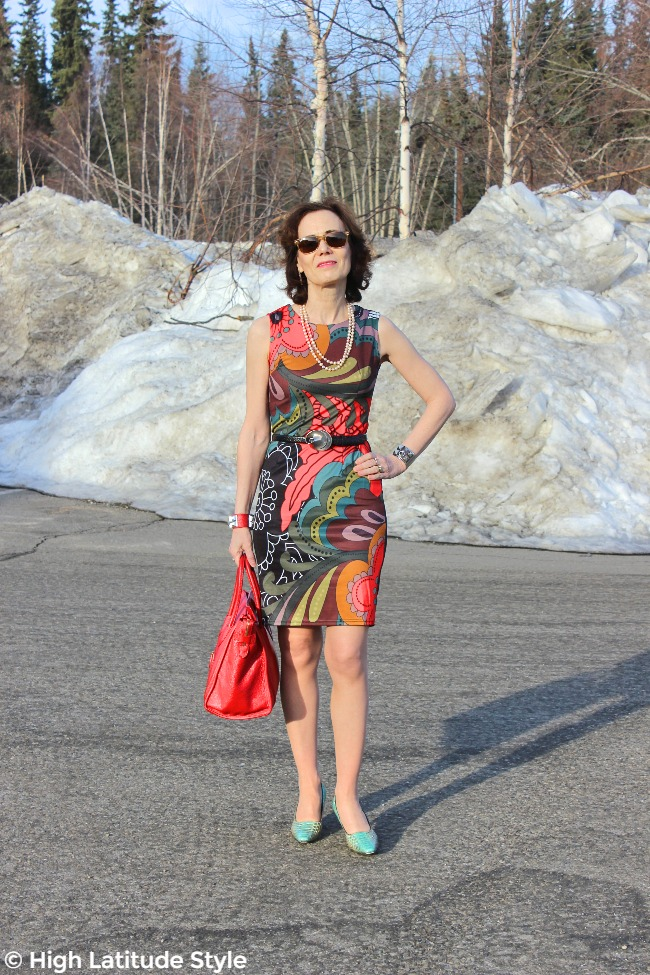 over 50 years old stylist summer sheath with bold pattern