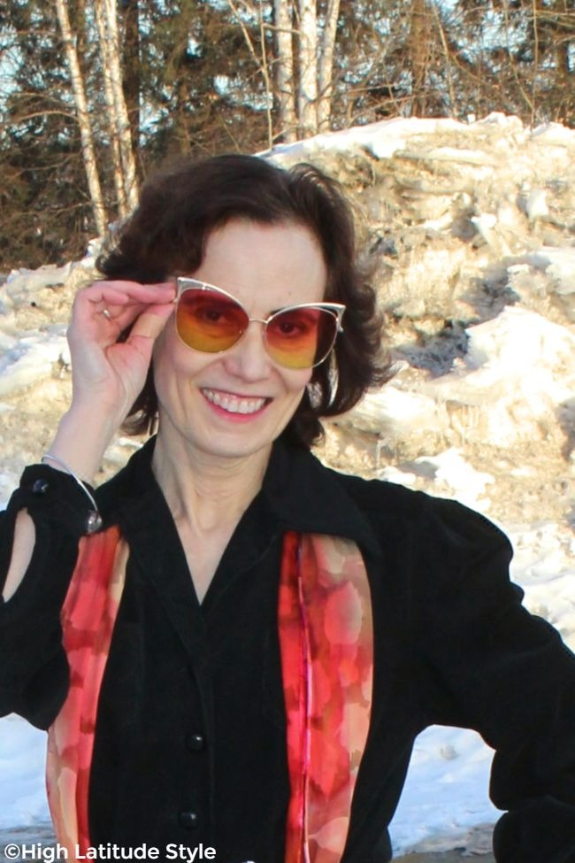 #styleover50 Woman in weekend look with #AddicedBrands protective eye-wear