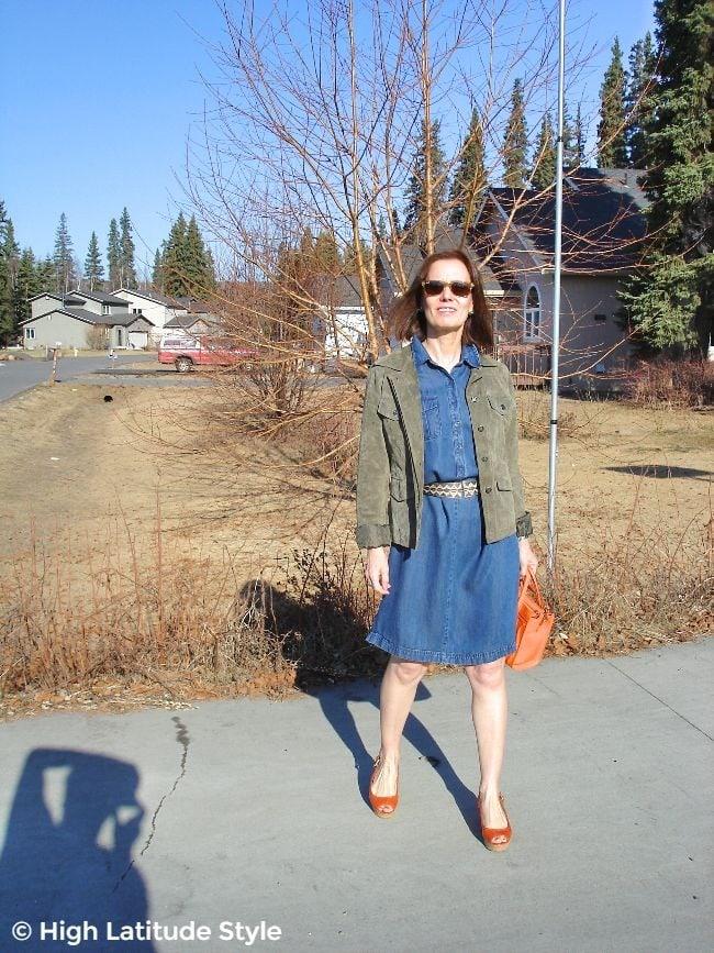 stylist in denim dress and utility jacket