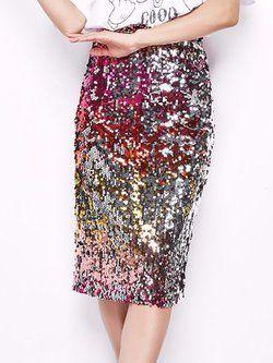 Red embellished skirt