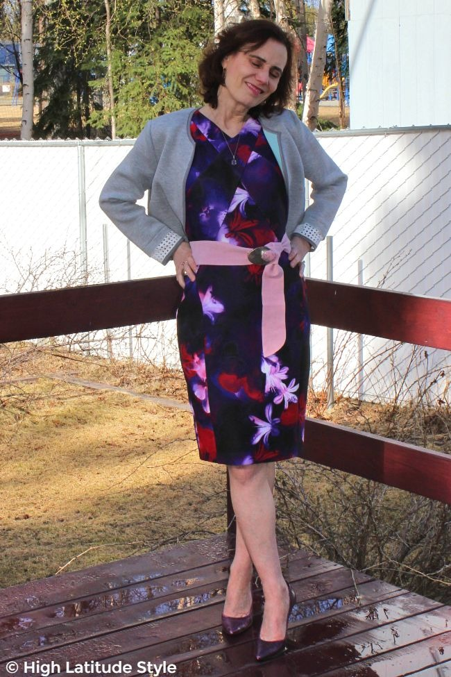 #fashionover50 woman in scuba dress and cropped scuba jacket