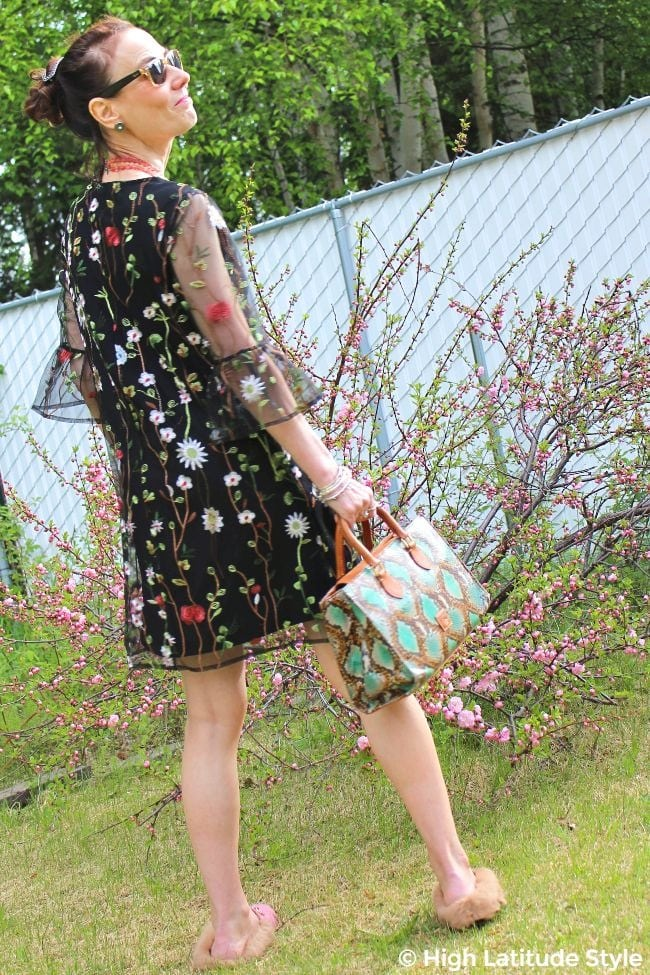 style advice blogger in A-line dress with mixed patterns