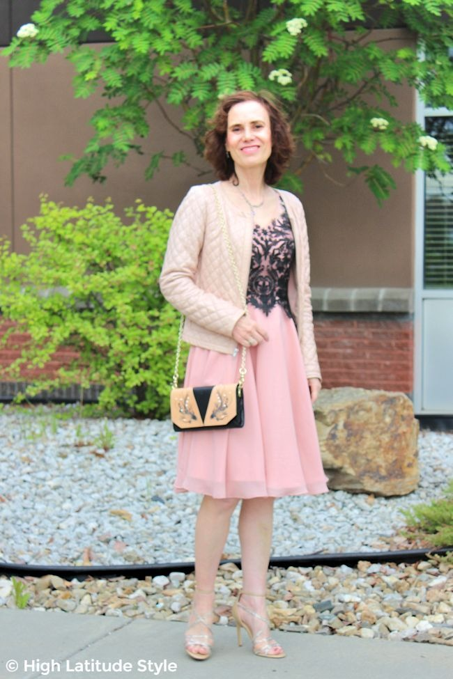 #fashionover40 older woman with cocktail dress and fish crossbody