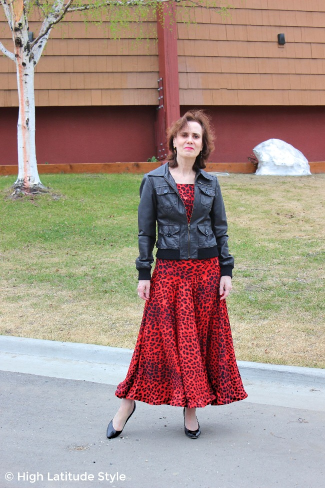midlife style blogger in dance gear covered up with a leather bomber