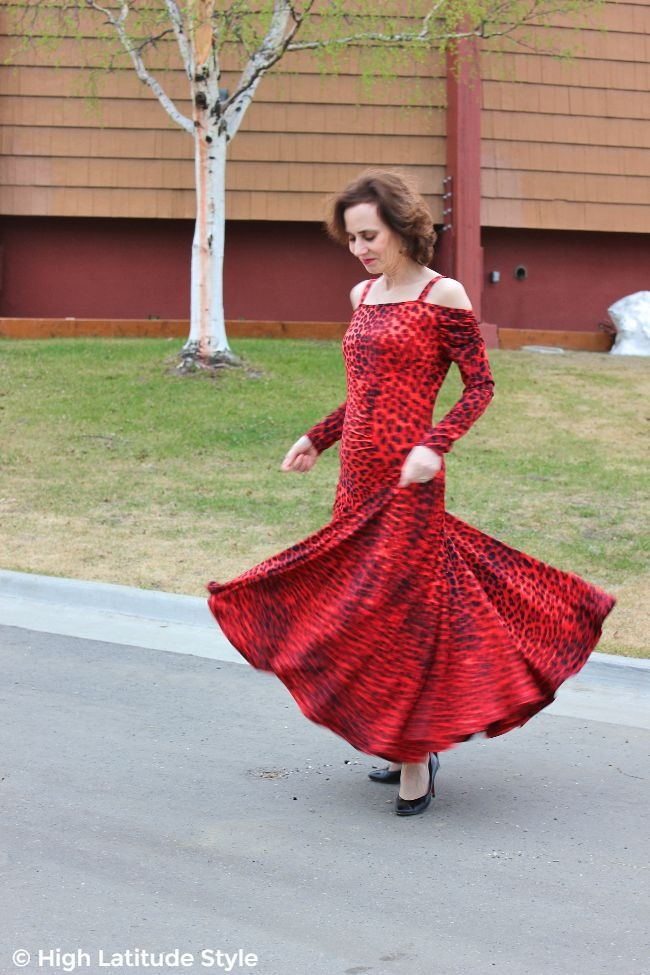 fashion book author in shoulderfree maxi dance outfit with pumps