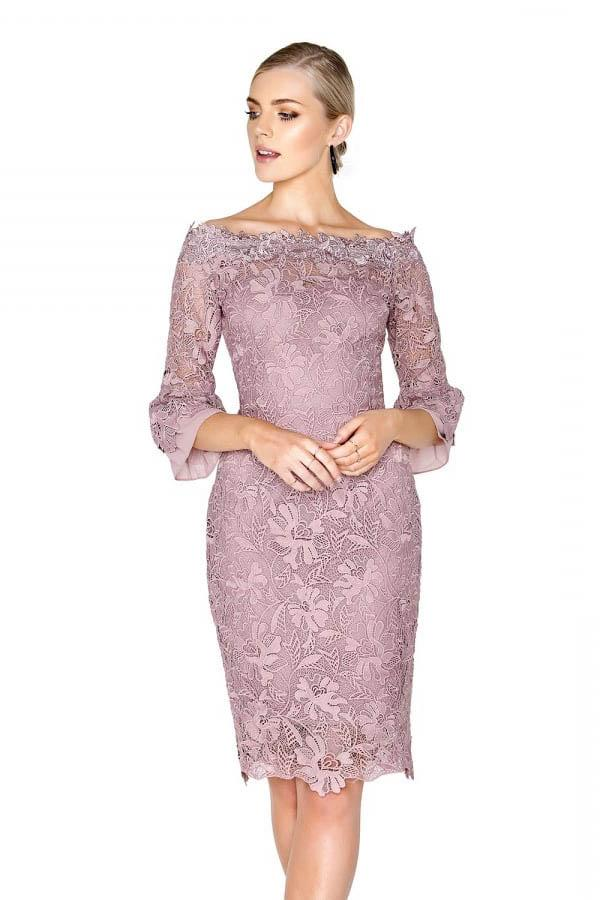 angrila_dress Lavender lace 3/4 sleeve above the knee mother of the bride dress