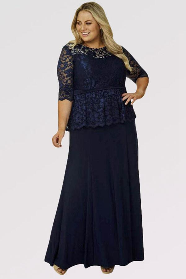 angrila_dress navy blue mother of the bride dress with lace