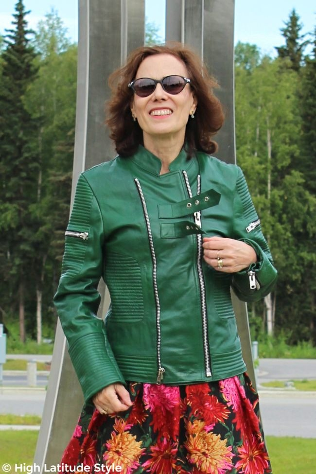 woman in green #LeatherSkin biker cover-up closed tight