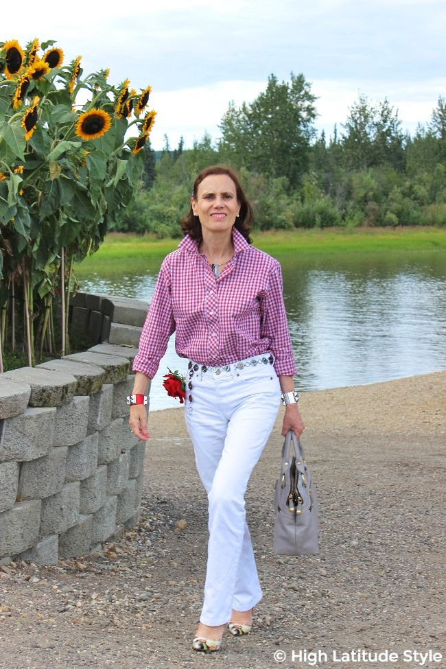 midlife woman looking posh casual in white bf and a gingham shirt