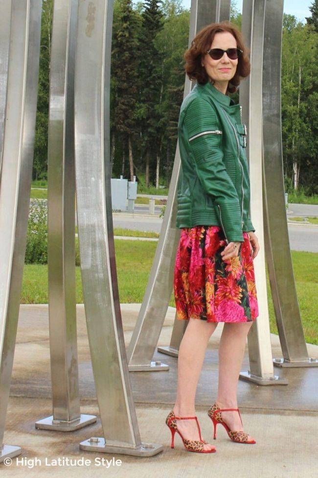 street style blogger in sheep skin jacket, full skirt, high heel sandals