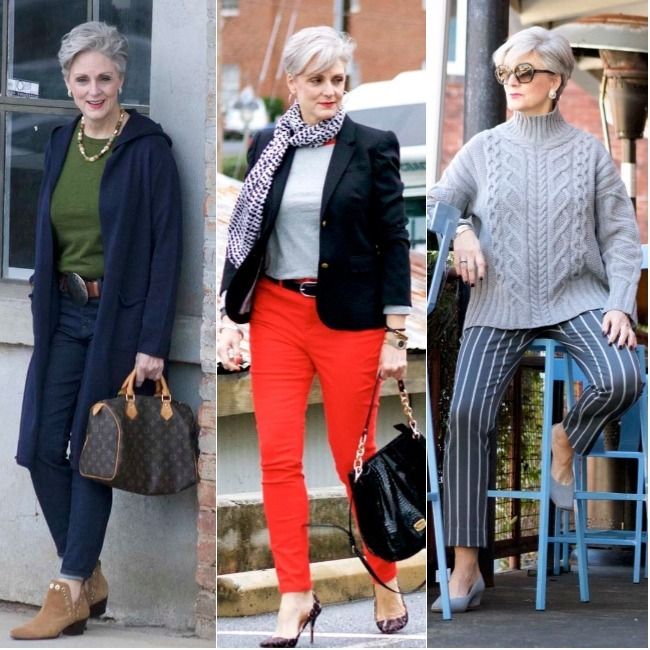 Beth Djalali, Style at a Certain Age, in three different outfits for subtropical winter weather