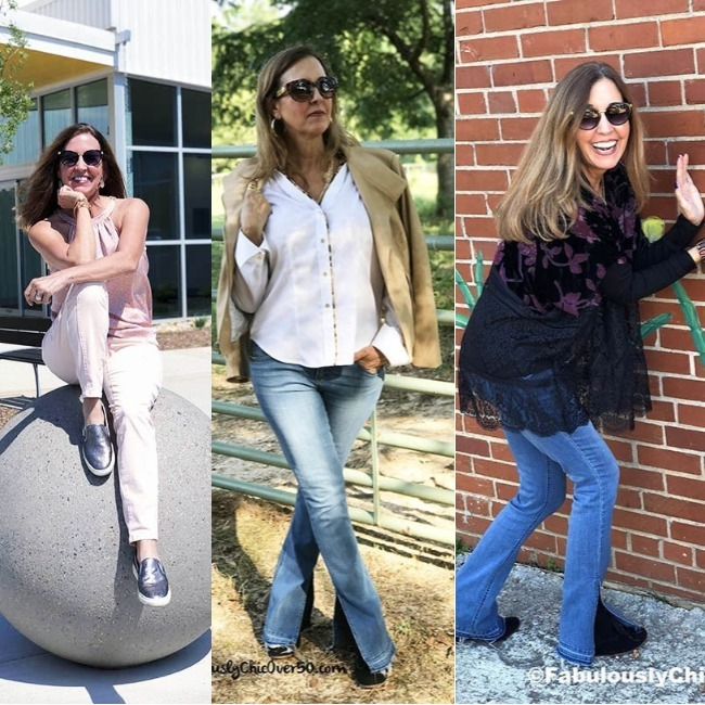sewing blogger Jonet Wooten in a summer, transition season and winter look