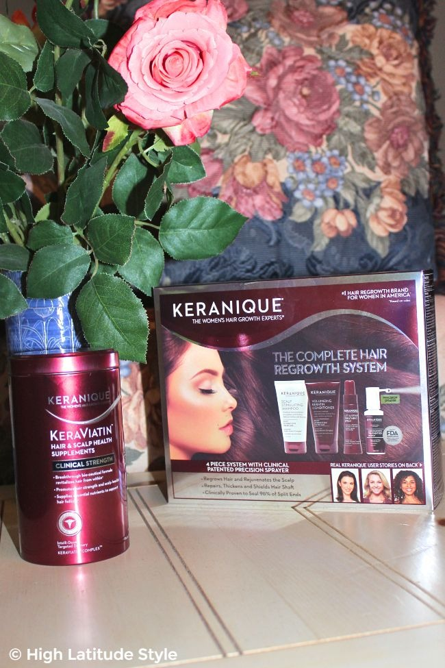 #hairover50 Complete Keranique hair regrowth system (right) and supplements (left)