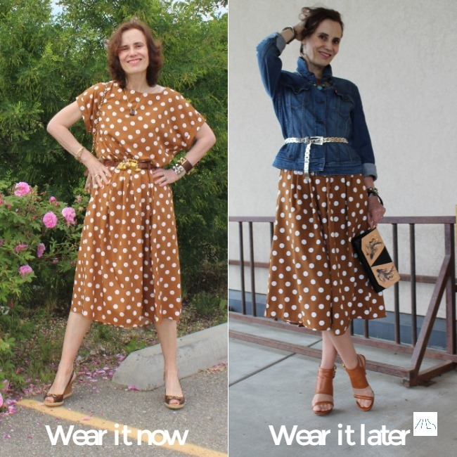 #fashionover40 mature woman donning a dress for two seasons