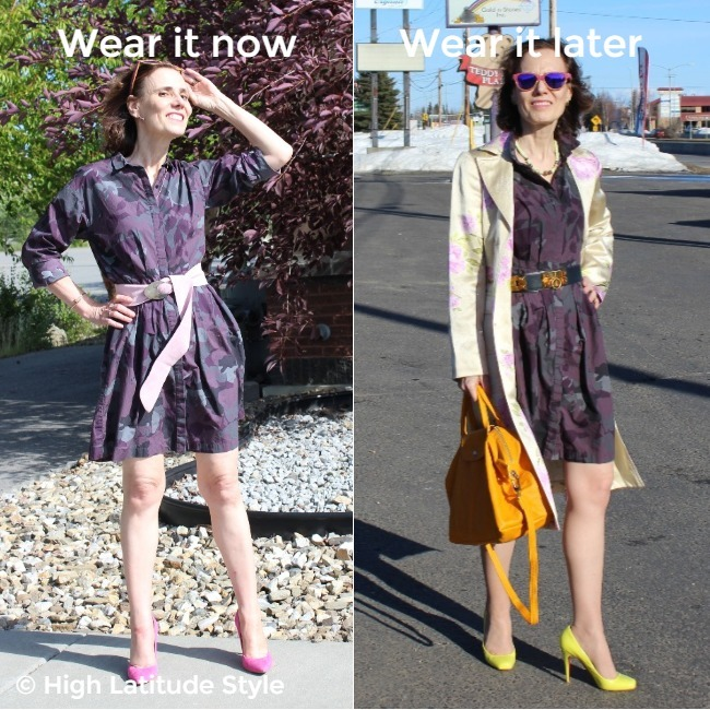 #fashionover50 woman wearing the same dress in two different ways
