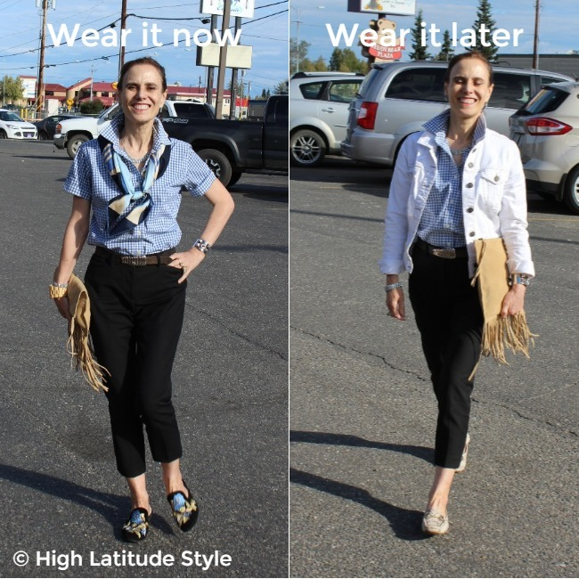 #maturefashion older woman wearing the same shirt and pants in a summer (left) and fall outfit