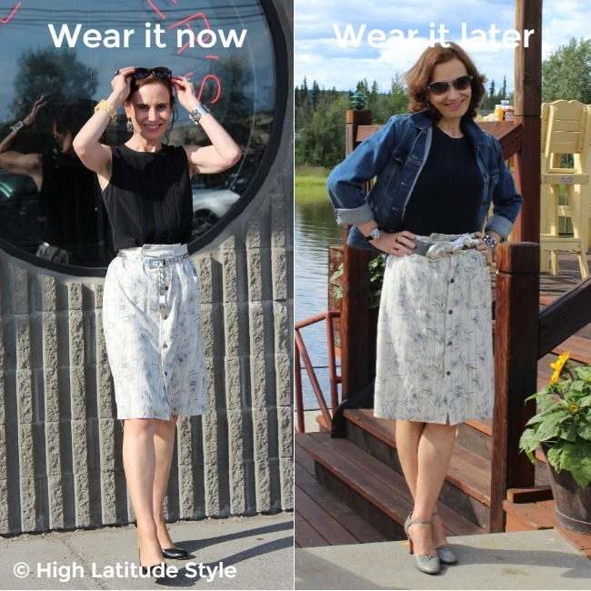 #styleover50 mature woman wearing a shirt-skirt styled for different ambient temperatures
