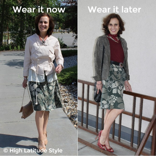 style blogger wearing an Hawaiian print skirt in camouflage colors once styled for warm vs. cool conditions