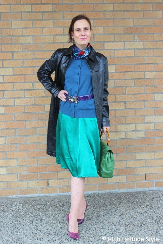 #fashionover50 fashion blogger Nicole in a violet, black, purple fall office look