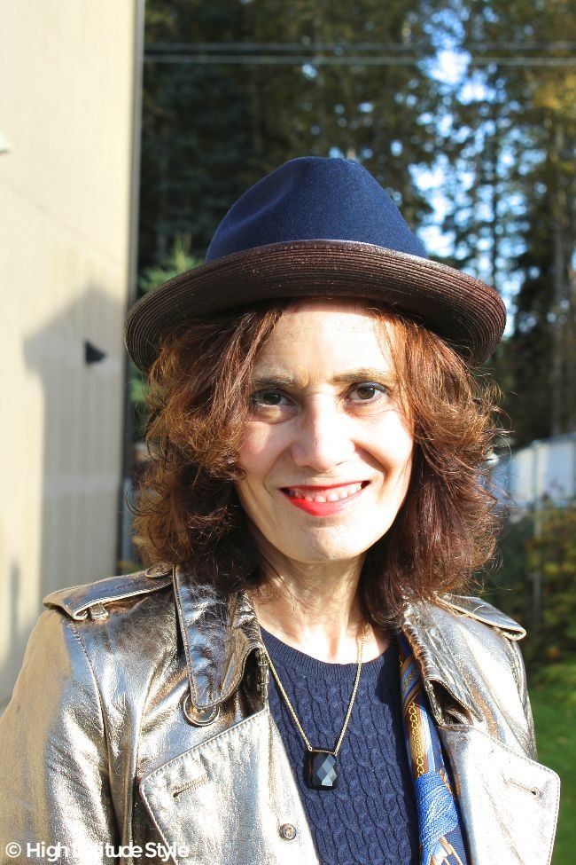 #TenthStreetHats #falltrends portrait of mature woman with blue and brown fedora