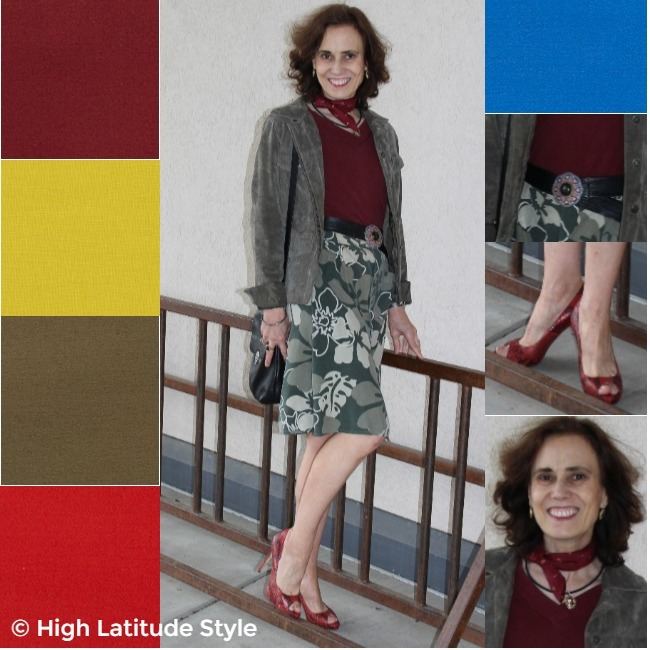 #styleover50 Woman wearing colors close to Pantome's fall colors