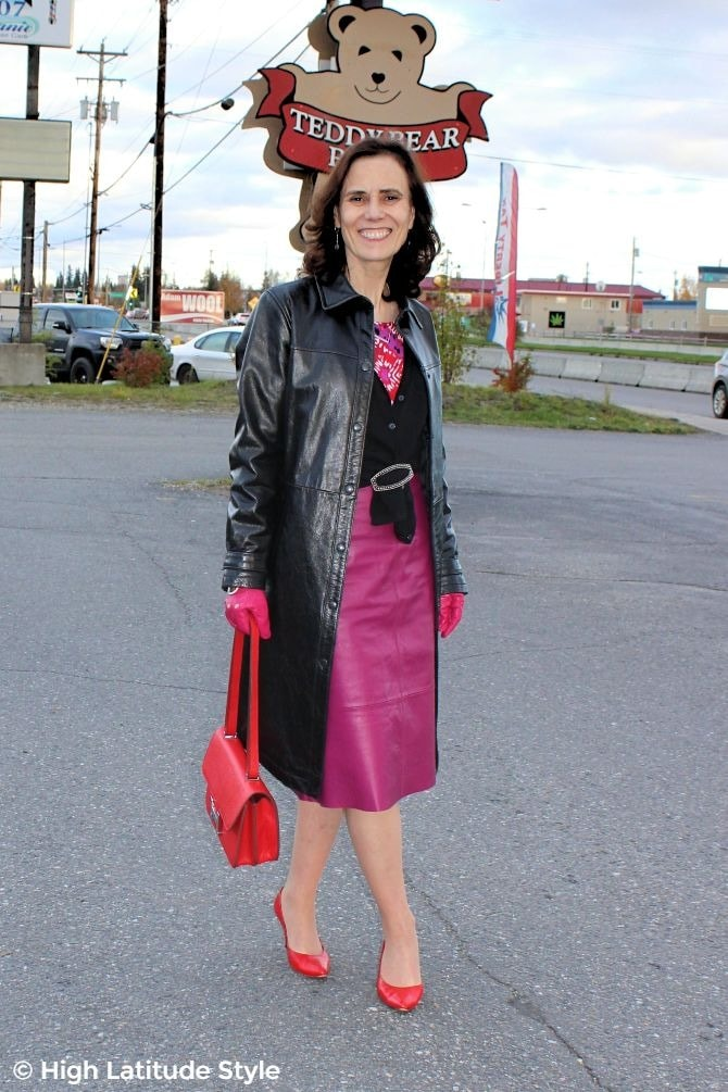 Nicole of High Latitude Style in fall outerwear over office look