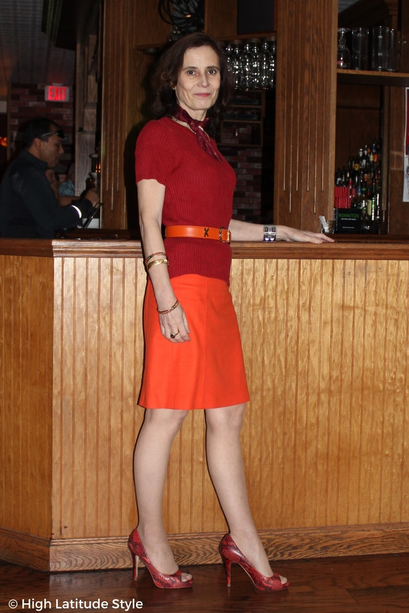 fall style over 50 Nicole in anaologous red-orange office separates