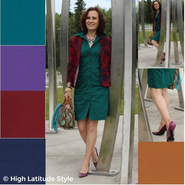 #advancedstyle woman in a work outfit in fall's It colors