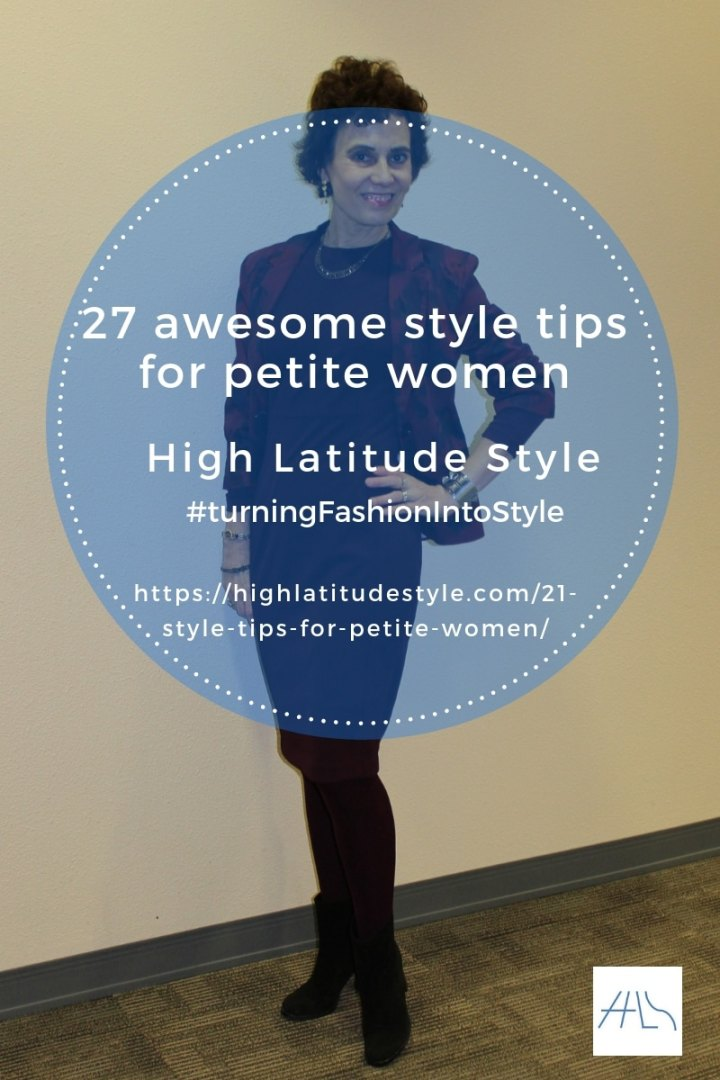 #petitestyle post banner of 27 awesome style tips for petite women by blogger Nicole