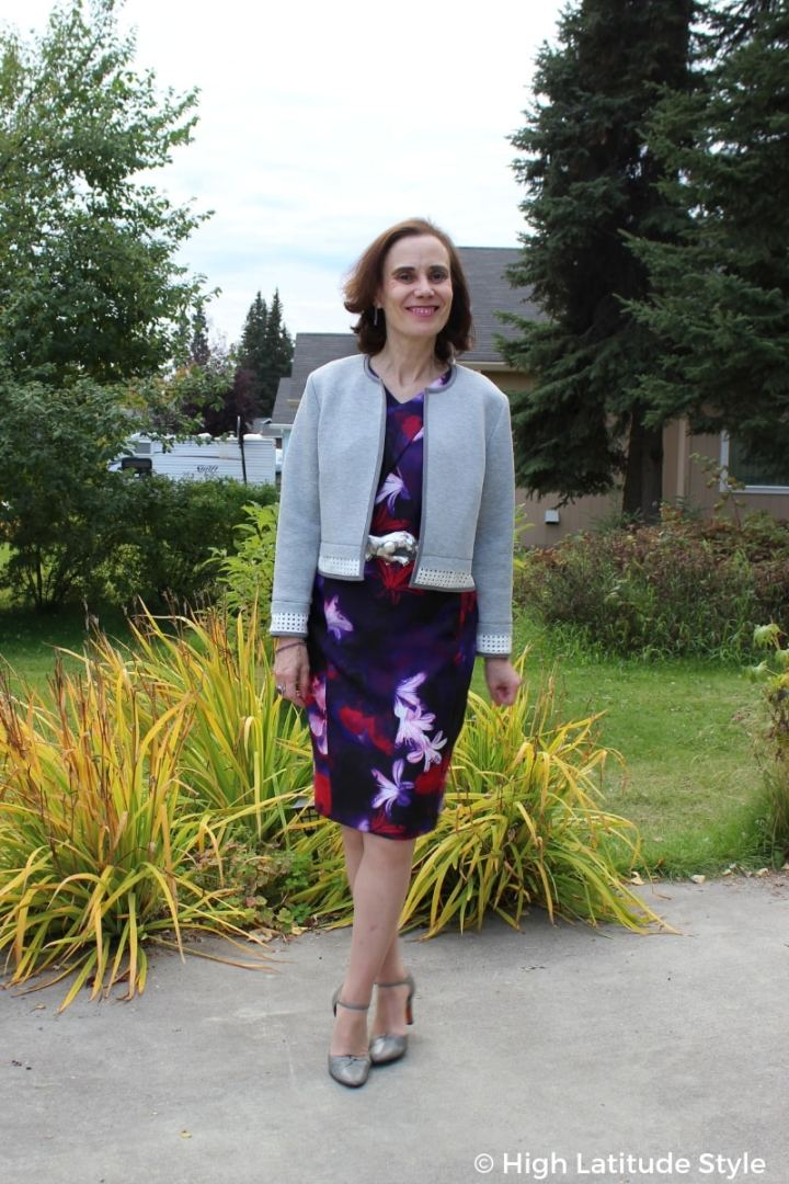 #turningfashionintostyle blogger in floral sheath, cropped jacket, ankle strap heels and panther buckle