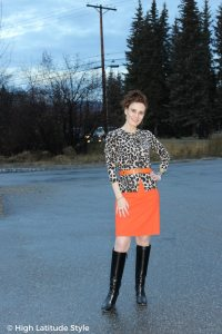 How I wear my orange skirt in fall