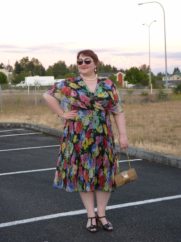 Natalia of In the Writer's Closet in a vintage dress