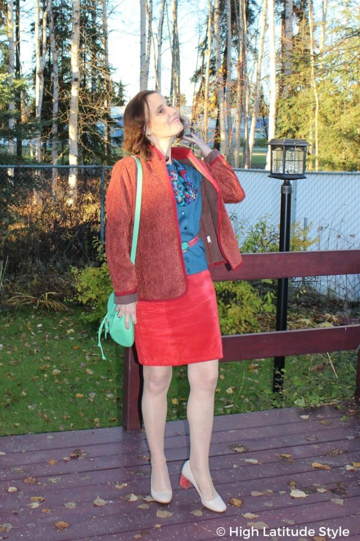 #styleover50 High Latitude Style in jacket, cardigan, skirt and heels
