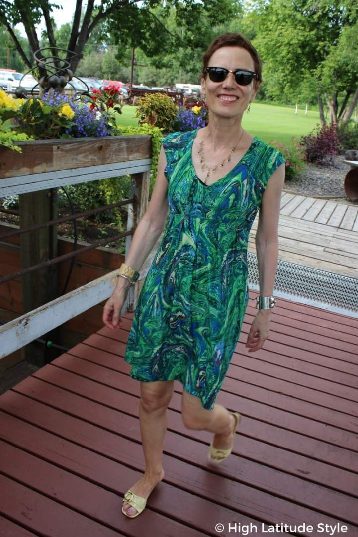 #fashionover50 High Latitude Style in a summer mini dress with cleavage date night outfit