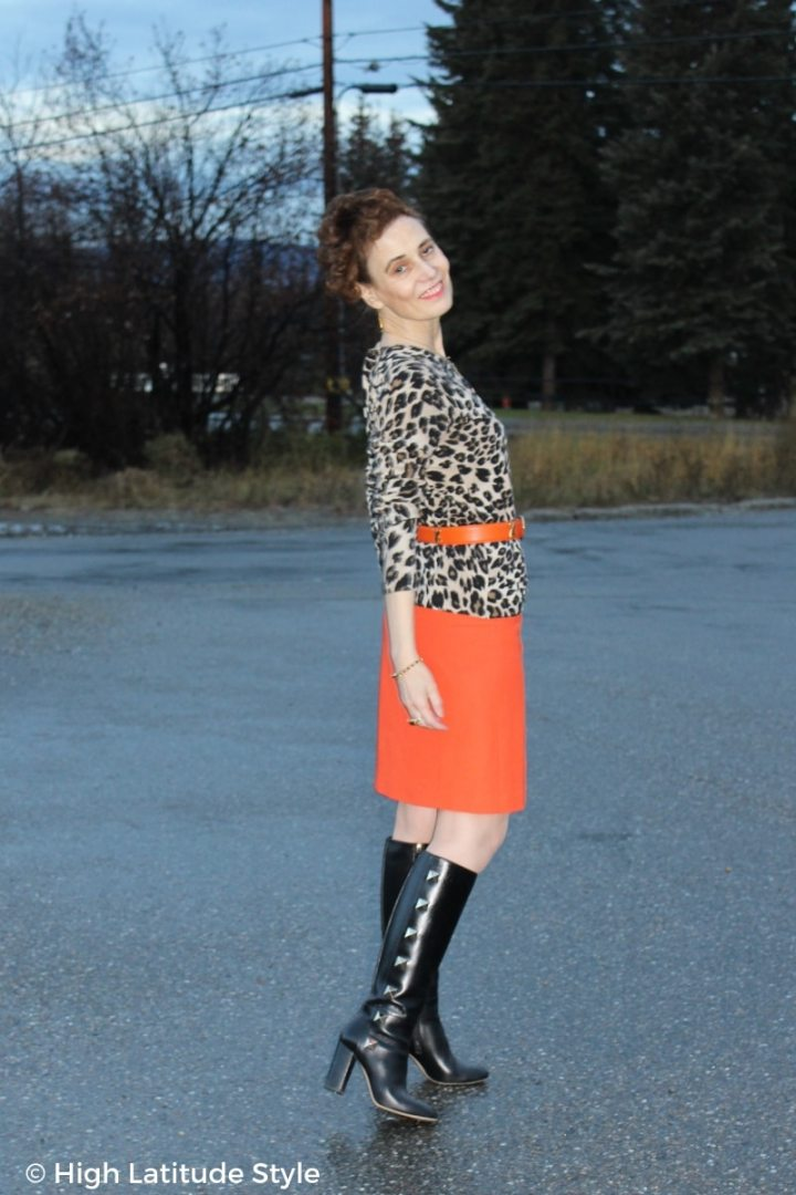 #advancedstyle Fashion blogger donning fall's animal trend with bold color