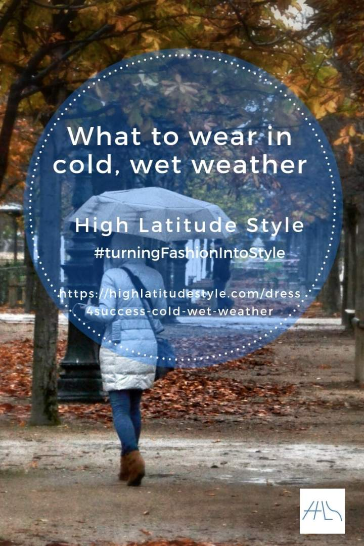 #over50fashion banner of post on what to wear in cold wet weather