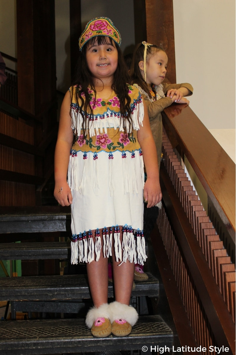 young Alaskan girl in traditional outfit