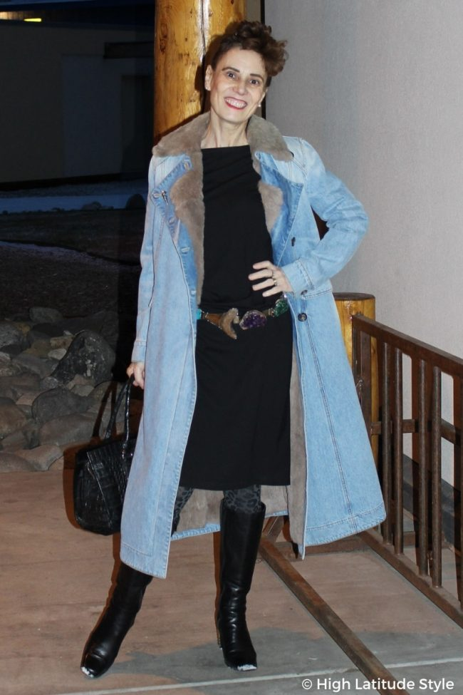 fashion blogger in denim coat and dress with leo tights