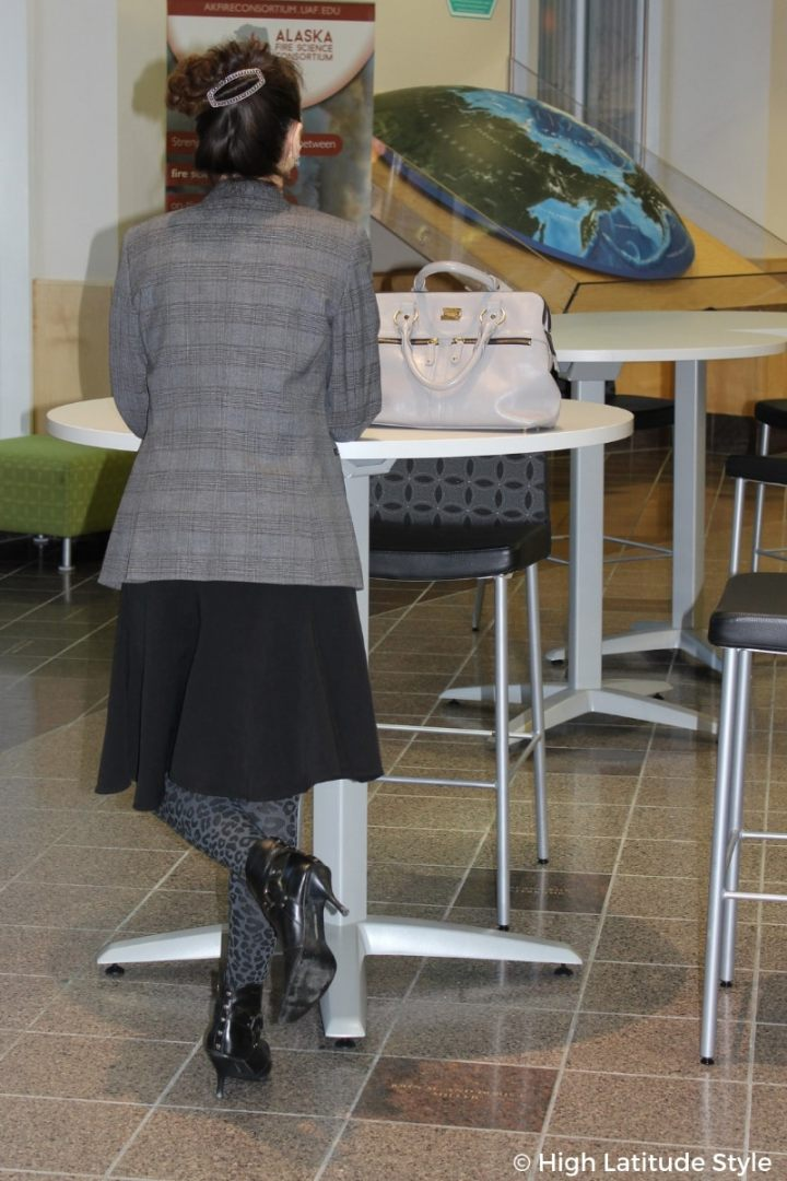 #workstyle female science professor in fake skirt suit with leopard print tights and heels